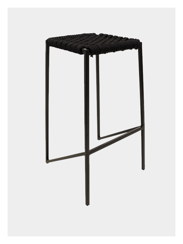 Woven Stool Black / Black – Medium