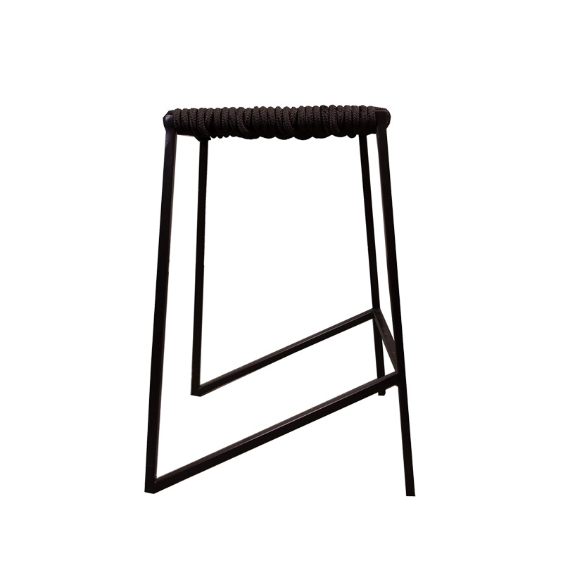 Woven Rope Stool Tall – Black / Black Outdoor