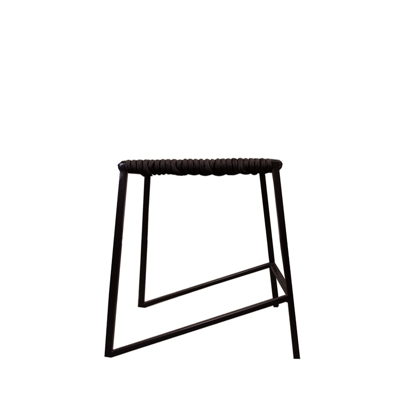 Woven Rope Stool – Black/Black – Small