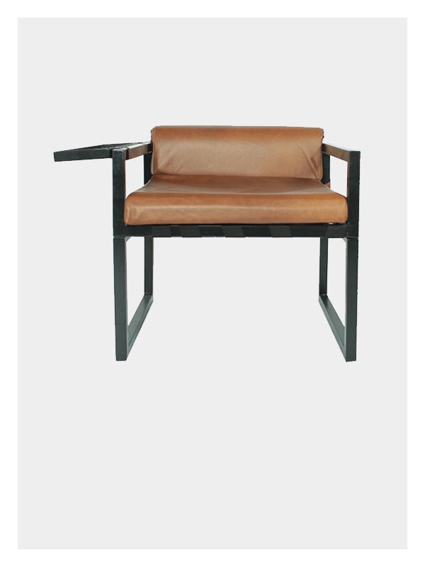 Wrap Armchair – Black / Tan