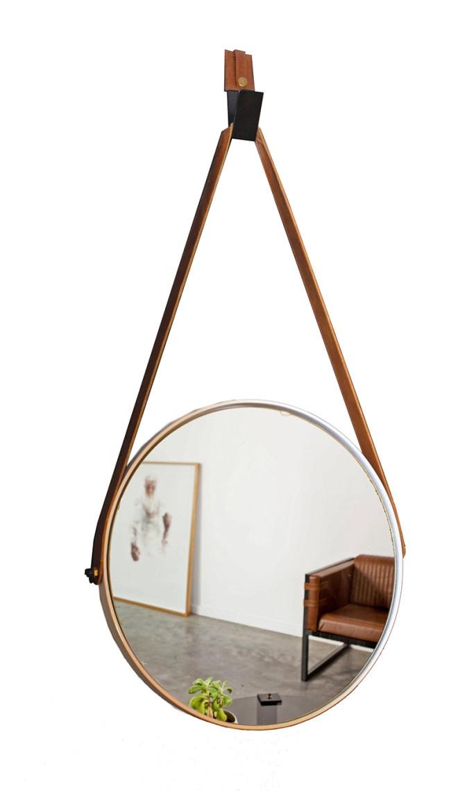 Small Round Mirror – White – Leather Strap
