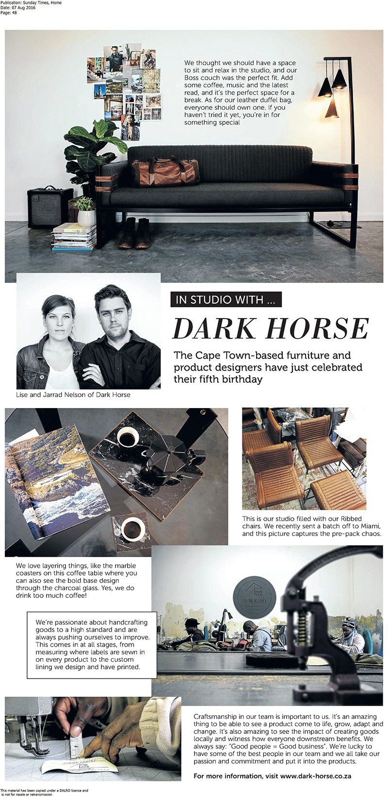 Dark Horse - Sunday times feature