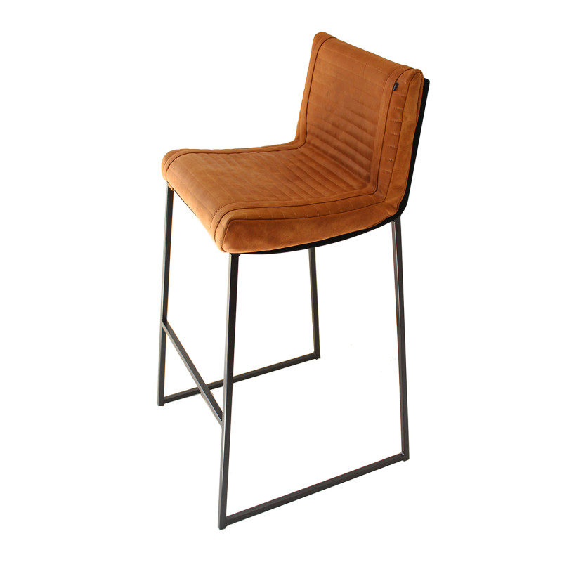 Ribbed Bar Chair – Black and Toffee