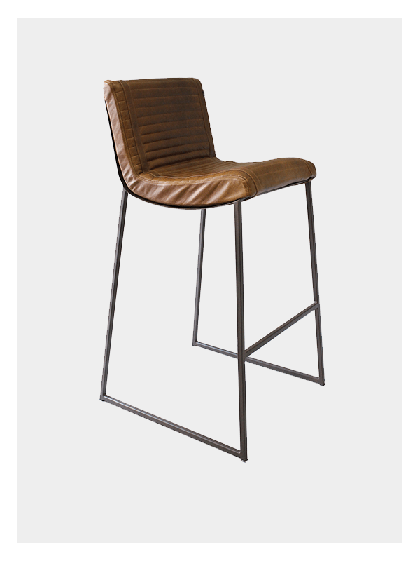 Ribbed Chair – Tan and Brown – Tall