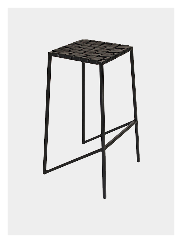 Woven Leather Strap Stool – Black / Black – Medium