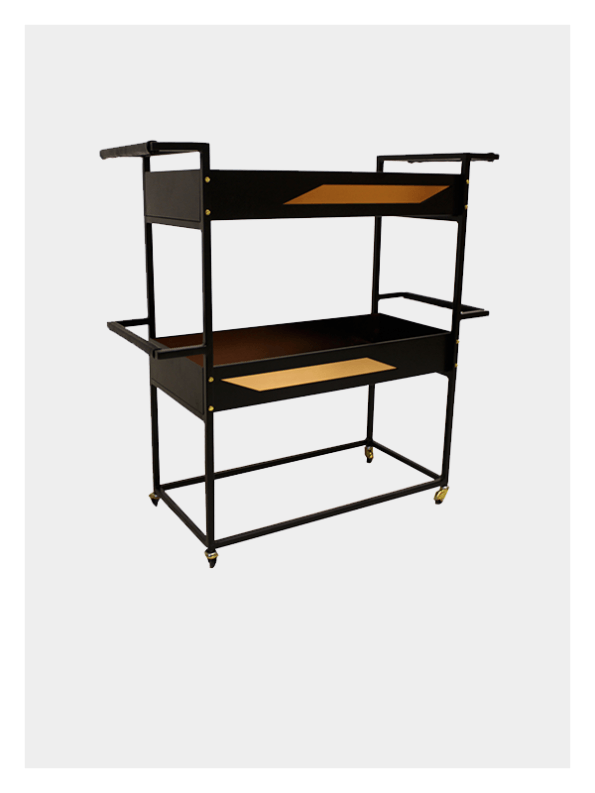 Quinta – Small Bar Cart – Black / Brass
