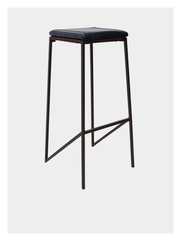 Leather Seat Stool – Navy / Brown – Ex Tall