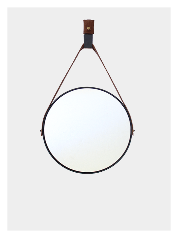 Small Hanging Round Mirror – Black – Tan Leather Strap