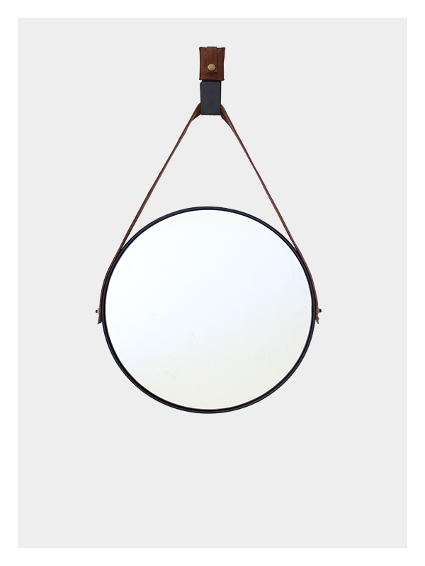Small round mirror hanging mirror black 187 dark horse