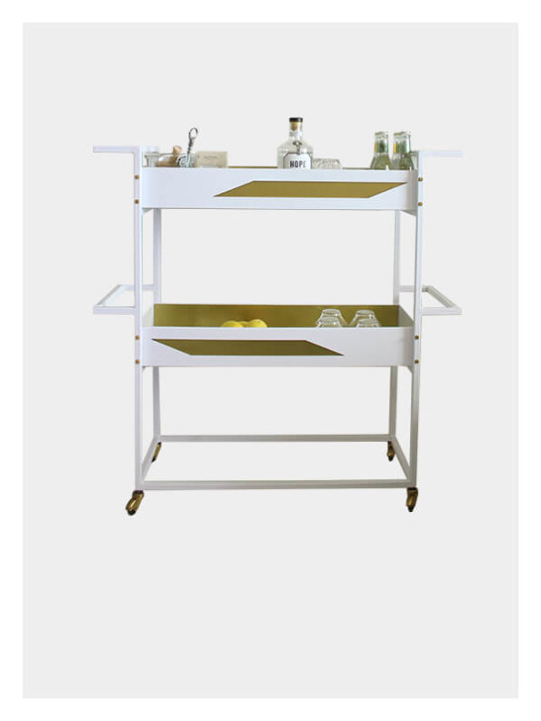 Quinita – Small Bar Cart – White / Brass