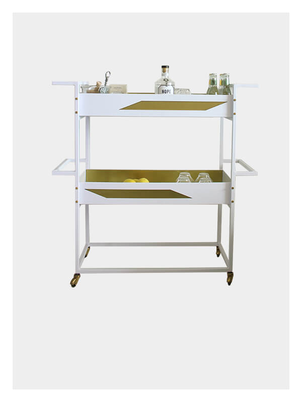 Quinta – Small Bar Cart – White / Brass