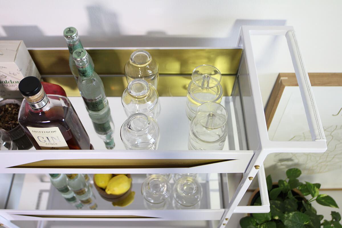 White bar cart - Quinita Bar Cart in White and Brass