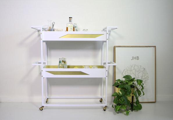 Dark Horse Bar Cart - White and Brass