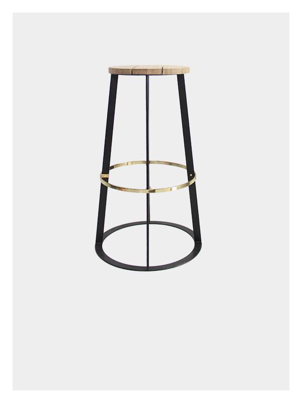 Spire Stool – Black / Brass – Tall