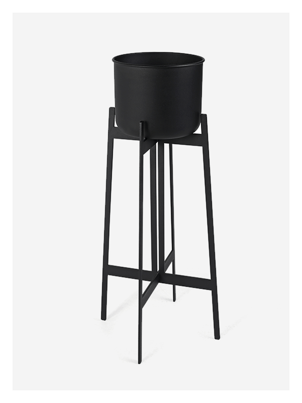 Zenith Planter – Tall – Black / Black