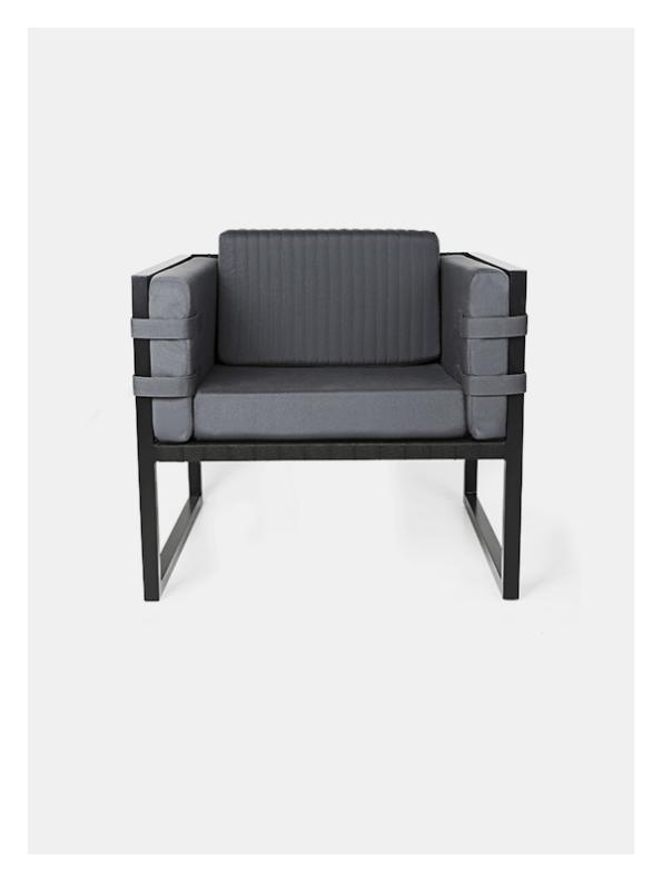 Boss Armchair – Grey / Black – Outdoor
