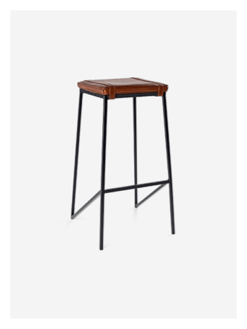 Dark Horse Leather Buckle Stool in Tan and Black