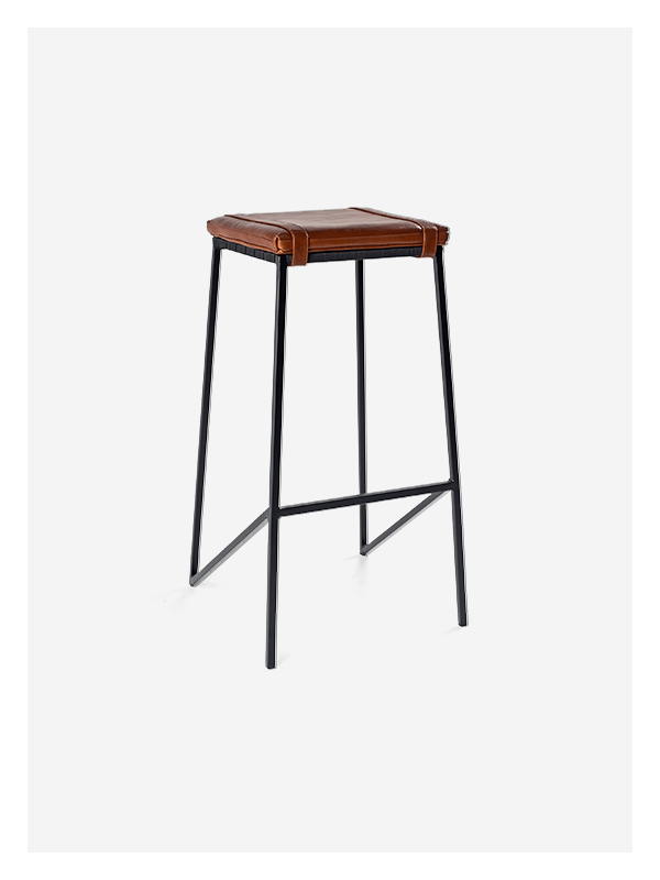 Leather Buckle Stool – MS Tan / Black – Tall