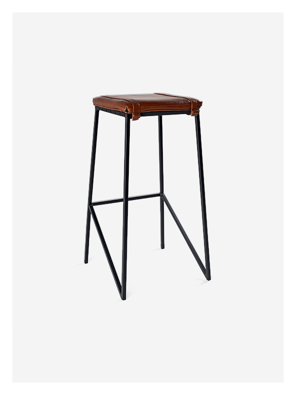 Leather Buckle Stool Ms Tan Black Tall Dark Horse