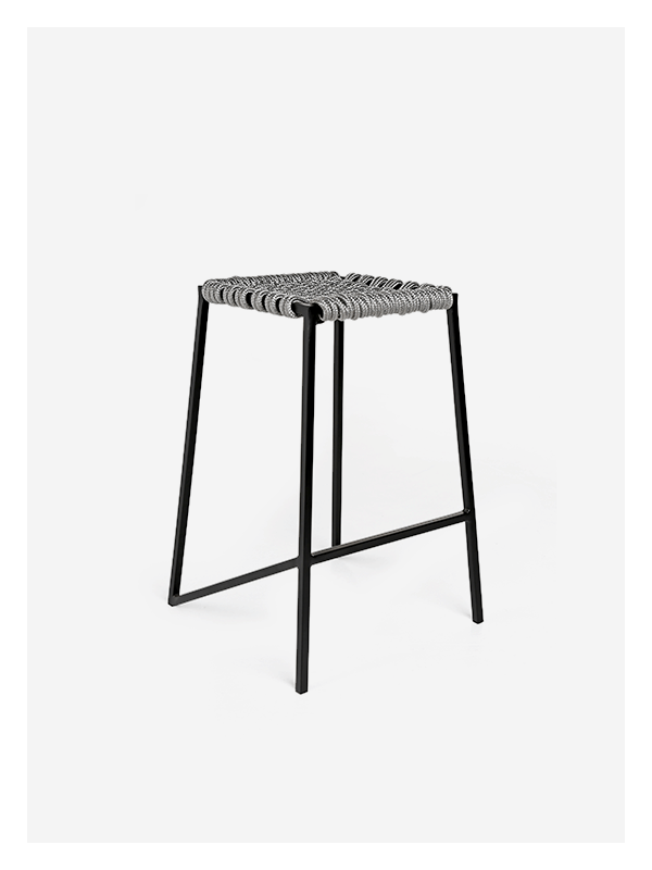 Woven Rope Stool – Medium – Grey / Black