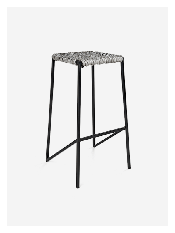 Woven Rope Stool – Tall – Grey / Black