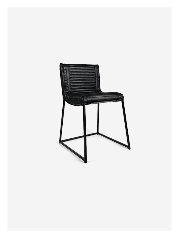 Ribbed Chair – Black and Black – Dining