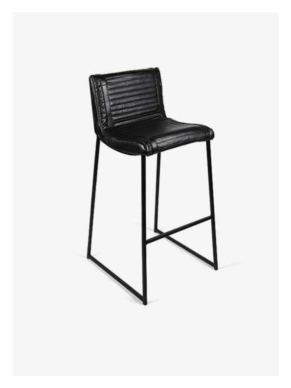 Ribbed Chair – Black and Black – Tall