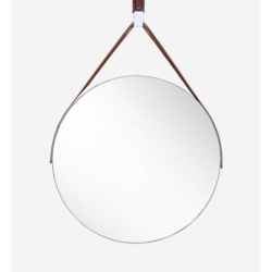 White hanging round mirror