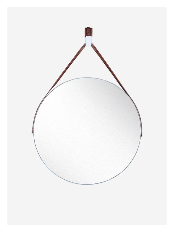 White hanging round mirror