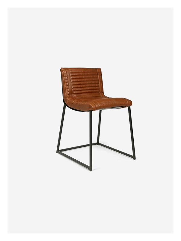 Ribbed Chair – Tan and Black – Dining