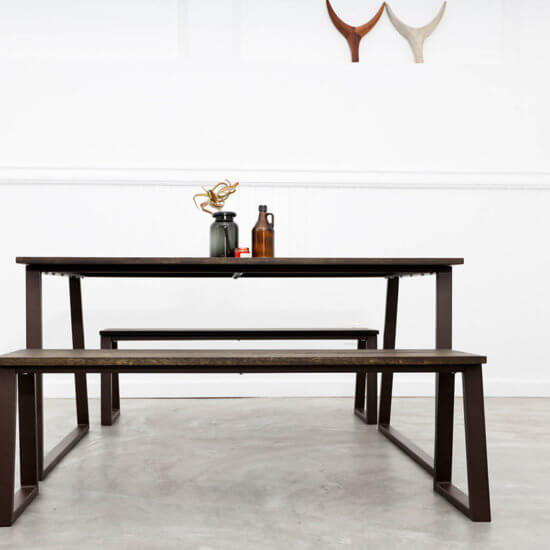 Modern timber table and bench